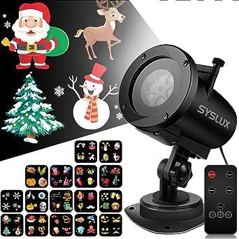 Lámpara de Proyección de Navidad, RiboEU Proyector Luz Halloween, 16 Diapositivas lámparas decoradas,Conveniente para la Boda de la Fiesta de San ...