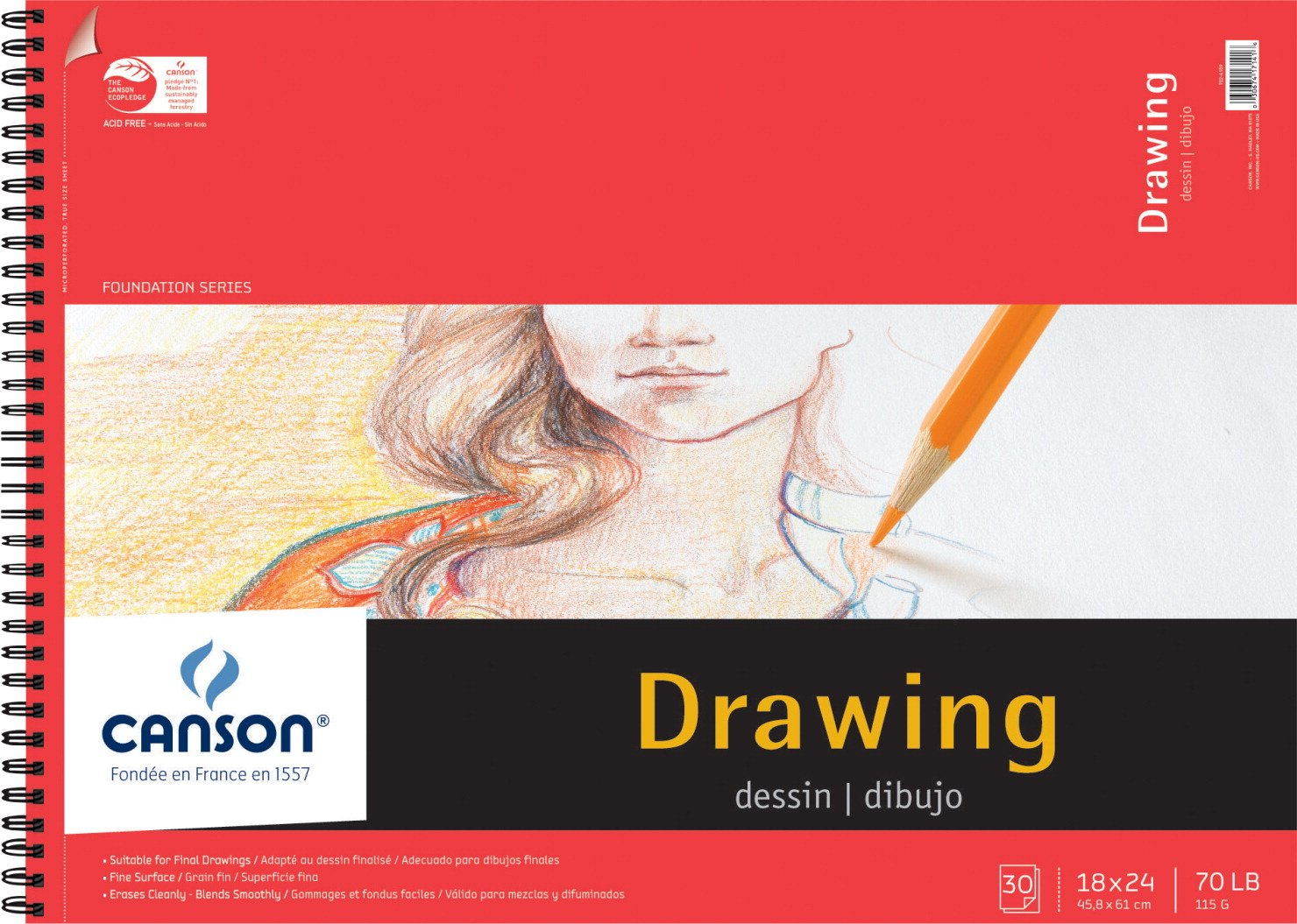 Canson 100510981 Foundation Drawing Pad, 30 Sheets, 18'' x 24'' Size, White