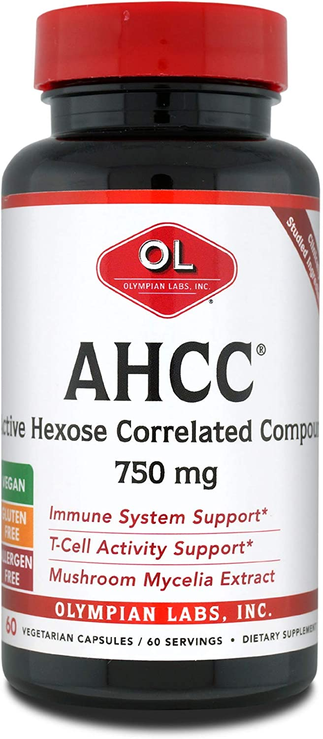Olympian Labs Premium AHCC Supplement 750mg of AHCC per Capsule Supports Immune Health, Liver Function, and Natural Killer Cell Activity- 60 Caps
