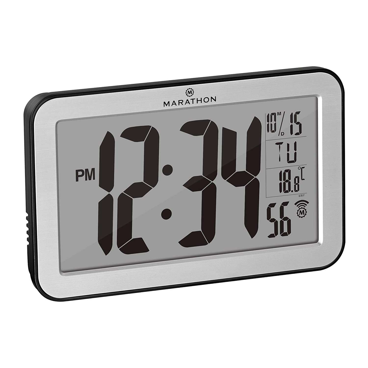 Marathon Commercial Grade Panoramic Atomic Wall Clock with Table Stand, Date, and Temperature