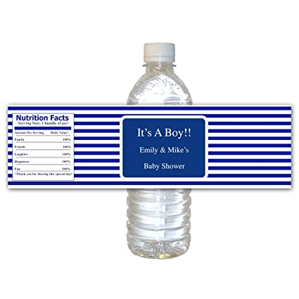 035fd12da5ab Amazon.com: 30 Water Bottle Labels Personalized Blue White Stripes ...