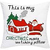 Yastouay Famhouse Christmas Pillow Covers White Red Santa Pillow Covers This is My Christmas Movie Watching Pillow Decorative