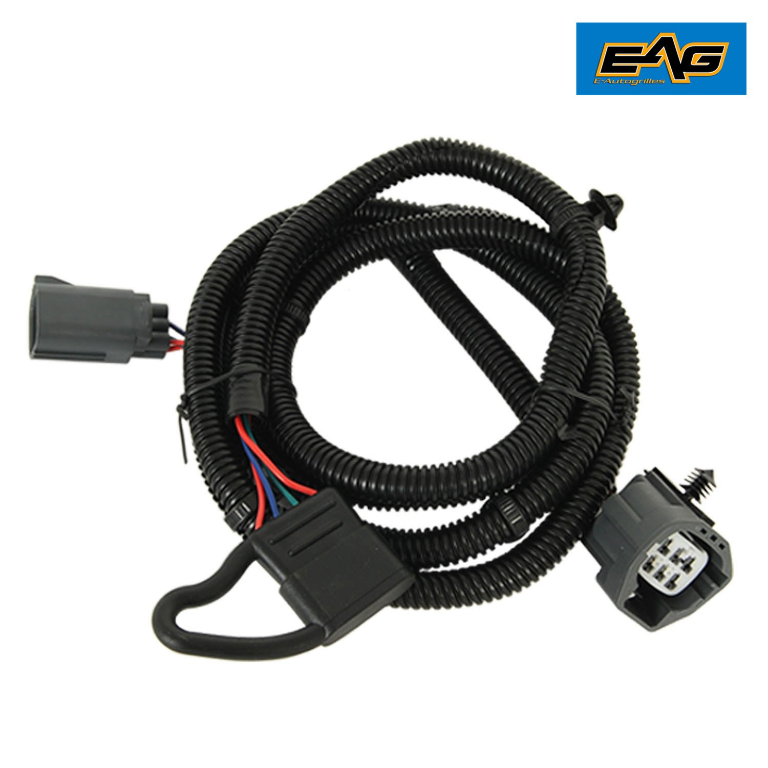 EAG 67' Tow Trailer Hitch Wiring Harness Kit w/ 4-way Flat Connector Dust Cover Set for 07-18 Jeep Wrangler JK 2/4 Door E-Autogrilles