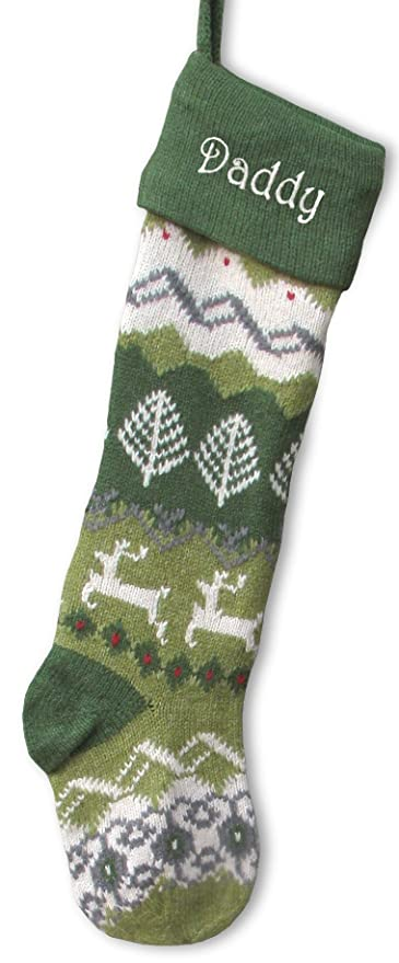 large personalized knit christmas stockings green cuff deer tree