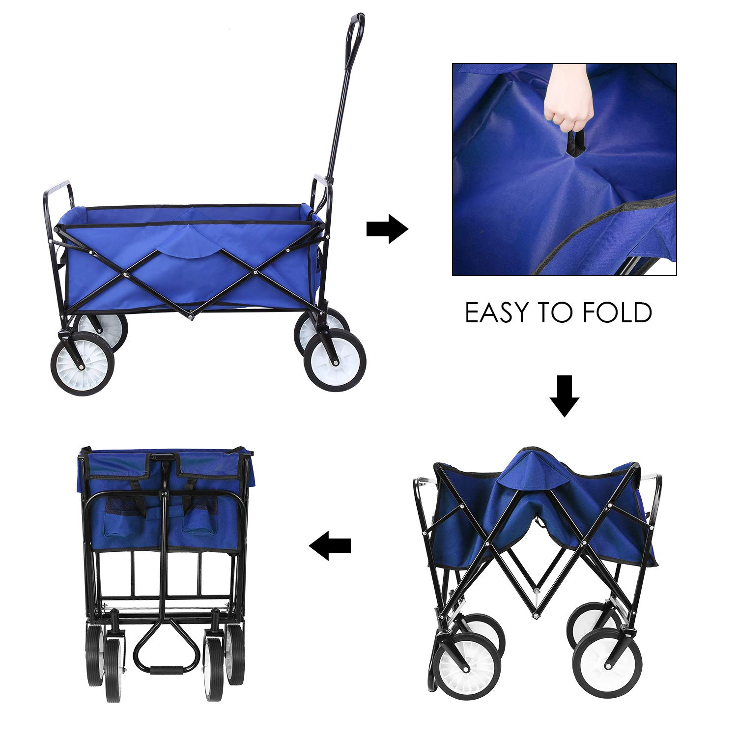 Collapsible Outdoor Utility Wagon, Heavy Duty Folding Garden Portable Hand Cart, with 8'' Rubber Wheels and Drink Holder, Suit for Shopping and Park Picnic, Beach Trip and Camping (Blue) by HEMBOR (Image #5)
