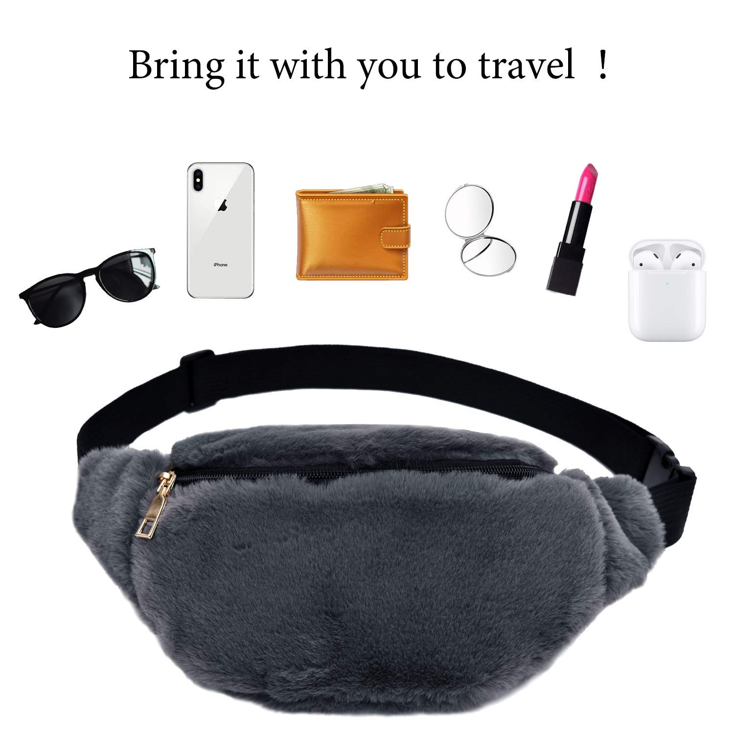 LIVACASA Bumbags Ladies Soft Faux Fur for Women Zip Girls Fashion Fanny Pack Waist Bag Hip Pounch Adjustable Strape Leisure Waist Pack Festival Travel 12.2x6.3In Brown