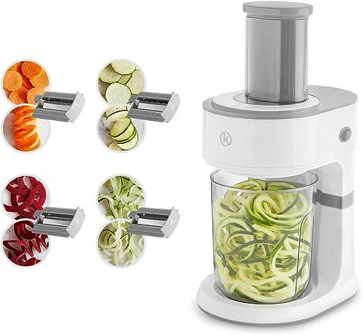 Cortador eléctrico en espiral 2 en 1 y picador de verduras de 120W ...