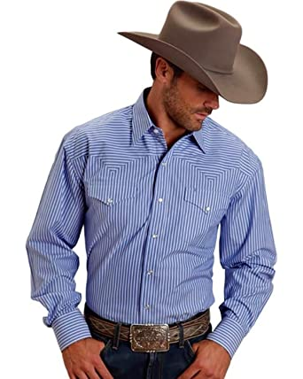 f1acc47608 Stetson Men's Blue Two Pocket Striped Western Snap Shirt at Amazon Men's  Clothing store: