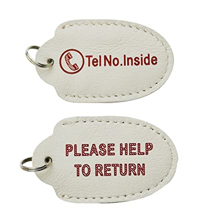 DKMUS Anti-Lost Keychain Genuine Leather Phone Number Pocket Key Chain with  Tel Number Inside 72407cc4e3