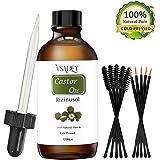 VSADEY Aceite de Ricino Orgánico 100% Natural Castor Oil Aceite de Ricino 100% Puro Aceite Prensado en Frío Estimula el crecimiento del cabello Ceja Pestañas y Cejas con 5 Juegos de Cepillos-120ML