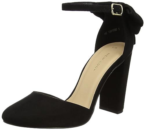 New Look Safety Scarpe con Cinturino alla Caviglia Donna Nero Black