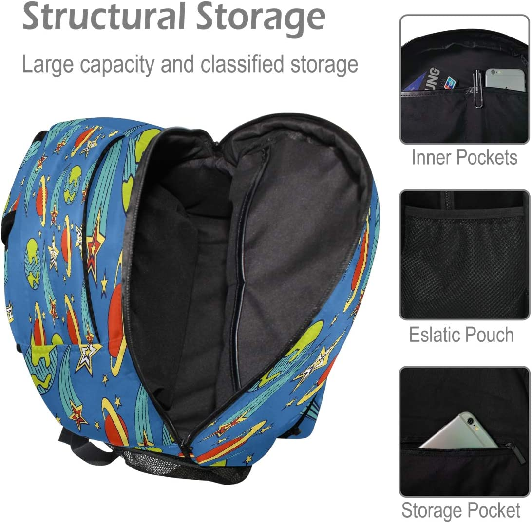 Laptop Backpack Boys Grils Planet Star Blue School Bookbags Computer Daypack for Travel Hiking Camping