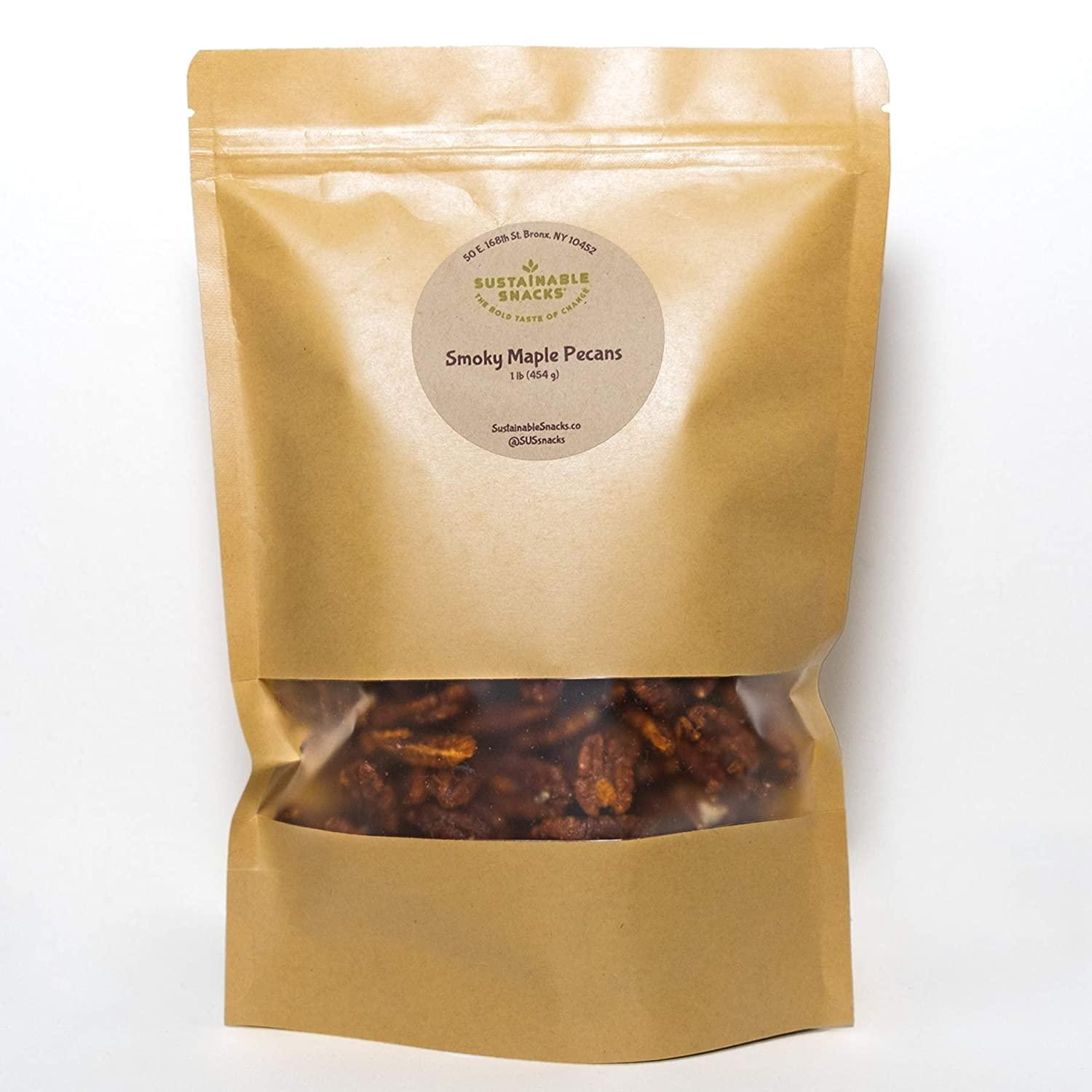 SUSTAINABLE SNACKS Smoky Maple Pecans, 1 lb bag - Vegan, Paleo, Gluten-Free, plant-based protein snack