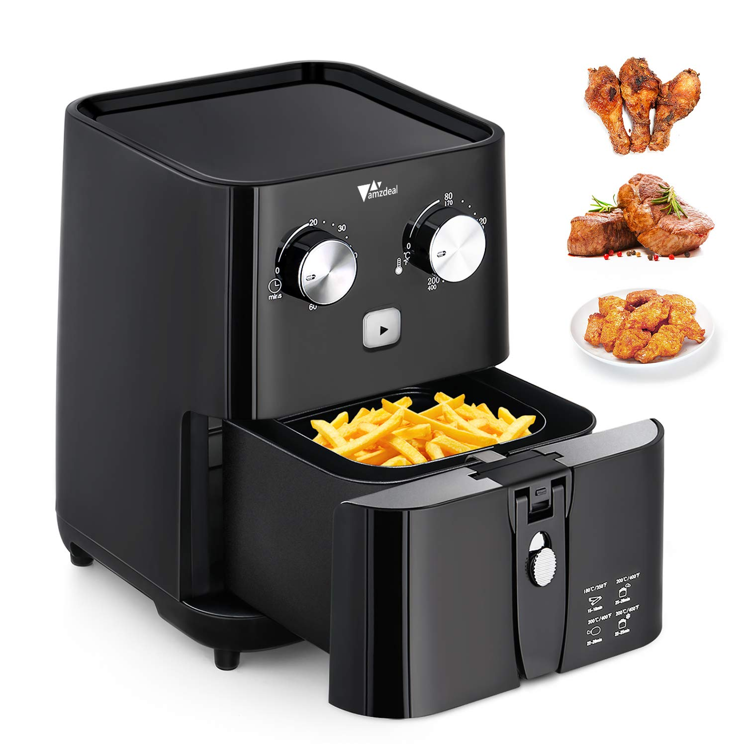 Amzdeal Air Fryer-Air Cooker Mini Small AirFryer with Timer and Temperature Control No Oil For Healthy Detachable Non Stick Fryer Basket 1.5L (Black)