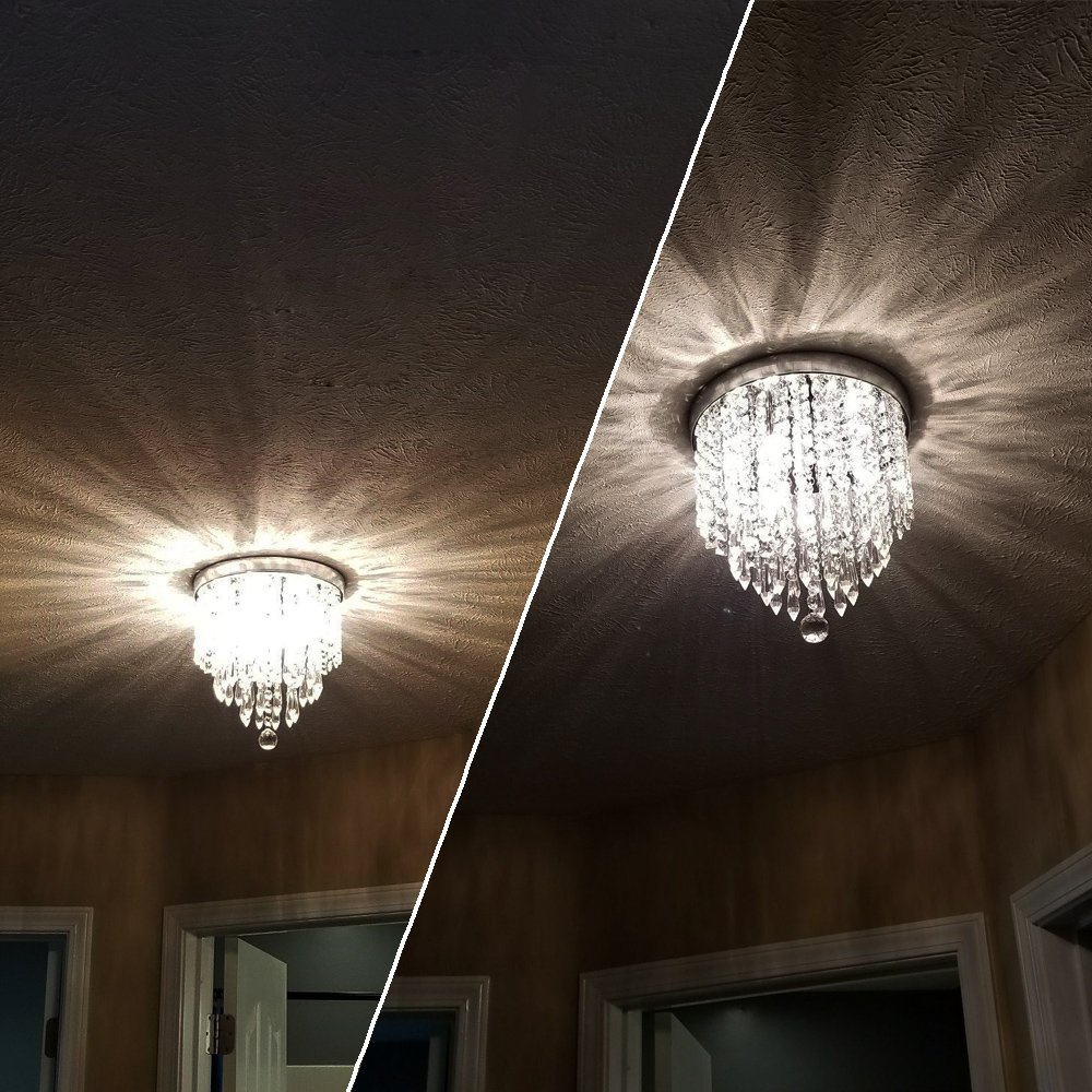 ZEEFO Crystal Chandeliers, Modern Pendant Flush Mount Ceiling Light Fixtures, 3 Lights, H10.2 W9.8 Inches, Contemporary Elegant Design Style Suitable For Hallway, Living Room, Dining Room by ZEEFO (Image #4)