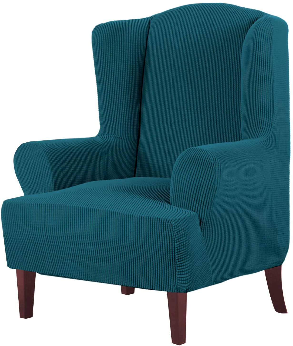 High Stretch Wing Chair Covers Slipcovers Wingback Chair Slipcovers Wingback Chair Covers Furniture Cover Protector, Feature Soft Thick Checked Pattern Jacquard Fabric, Deep Teal