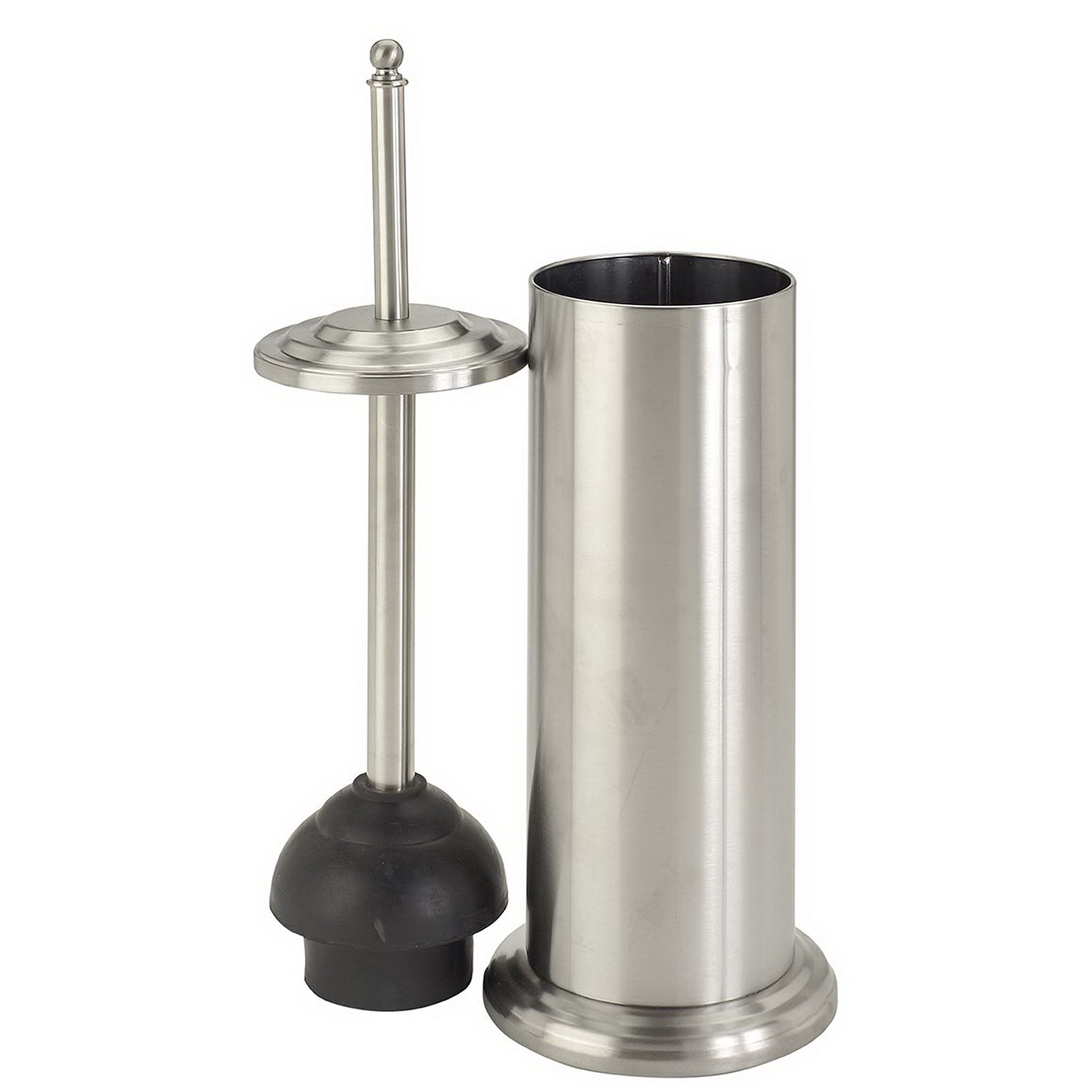 Bath Bliss Cylinder Free Standing Toilet Plunger & Holder, Water & Rust Resistant, Decorative, Stainless Steel by Bath Bliss