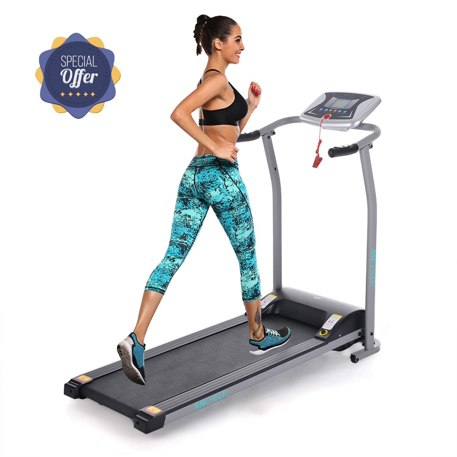 Folding Electric Treadmill Incline Motorized Running Machine Smartphone APP Control for Home Gym Exercise (Z-1.5 HP- Silver-Not with APP Control- Not Incline)