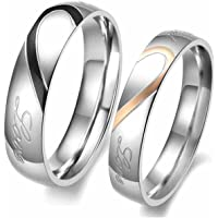 Aokarry Men's Stainless Steel Couples Rings Puzzle Half Heart Promise Bands Rings Silver Black 5MM Size