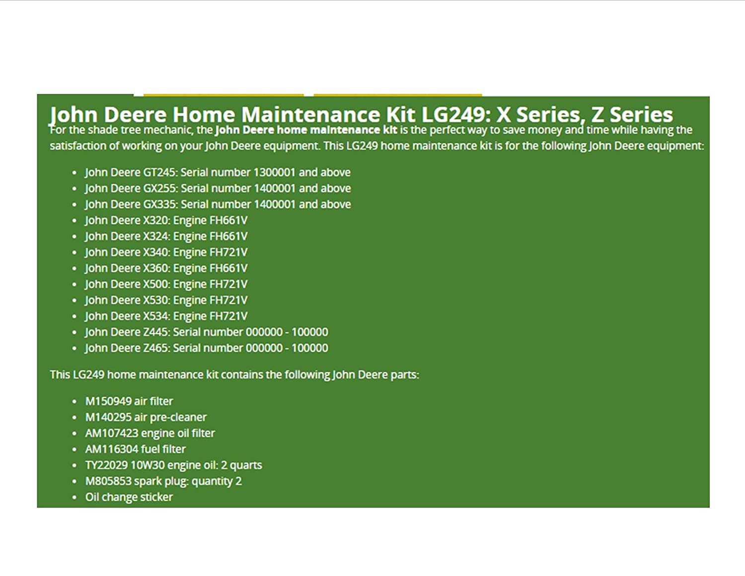 John Deere Home Maintenance Kit Fits Z445 Z465 X Fuel Filters 320 X324 340 X360 500 Oil Lg249 Check Engine Serial Number Before Ordering