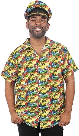 I LOVE FANCY DRESS LTD Camisa Amarilla Estilo HAWAINA con Sombrero IDENTICO para Adultos Fiestas TEMATICAS DE Verano(S)