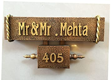 Buy Craftedindia Antique Wood Metal Name Plate Online At