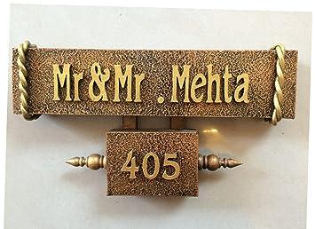 Buy Craftedindia Antique Wood Metal Name Plate Online At