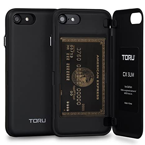 TORU Funda iPhone 8 Carcasa Cartera Delgado con Tarjetero Oculto para Apple iPhone 8 / iPhone 7 - Negro Mate