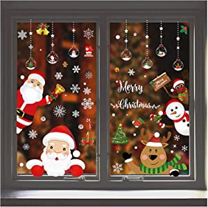 167Pcs Christmas Window Clings Window Stickers for Christmas Decorations Window Décor Ornaments Xmas Party Supplies Thanksgiving Party Décor Home Deer Santa Claus and Snowflakes(8-Sheet)