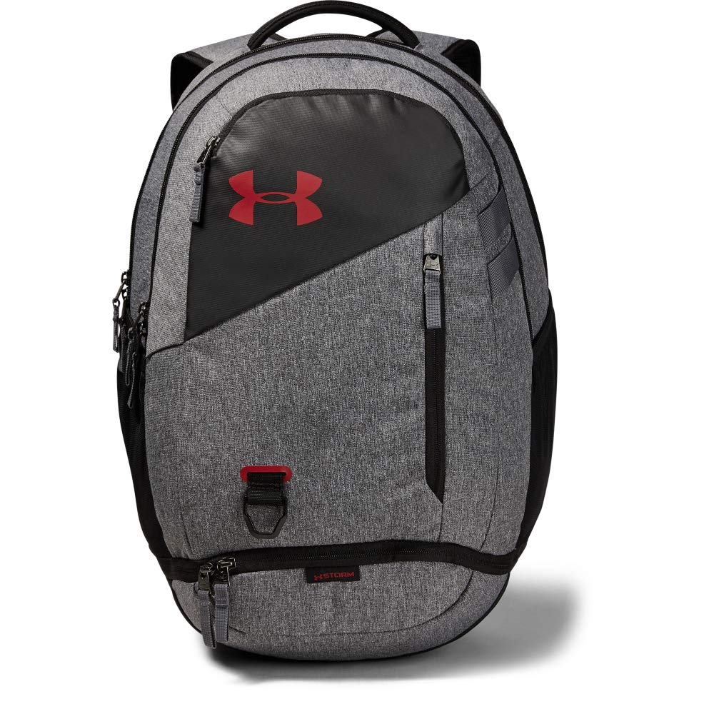 Under Armour Hustle 4.0 Backpack, Graphite (041)/Stadium Red, One Size Fits All by Under Armour