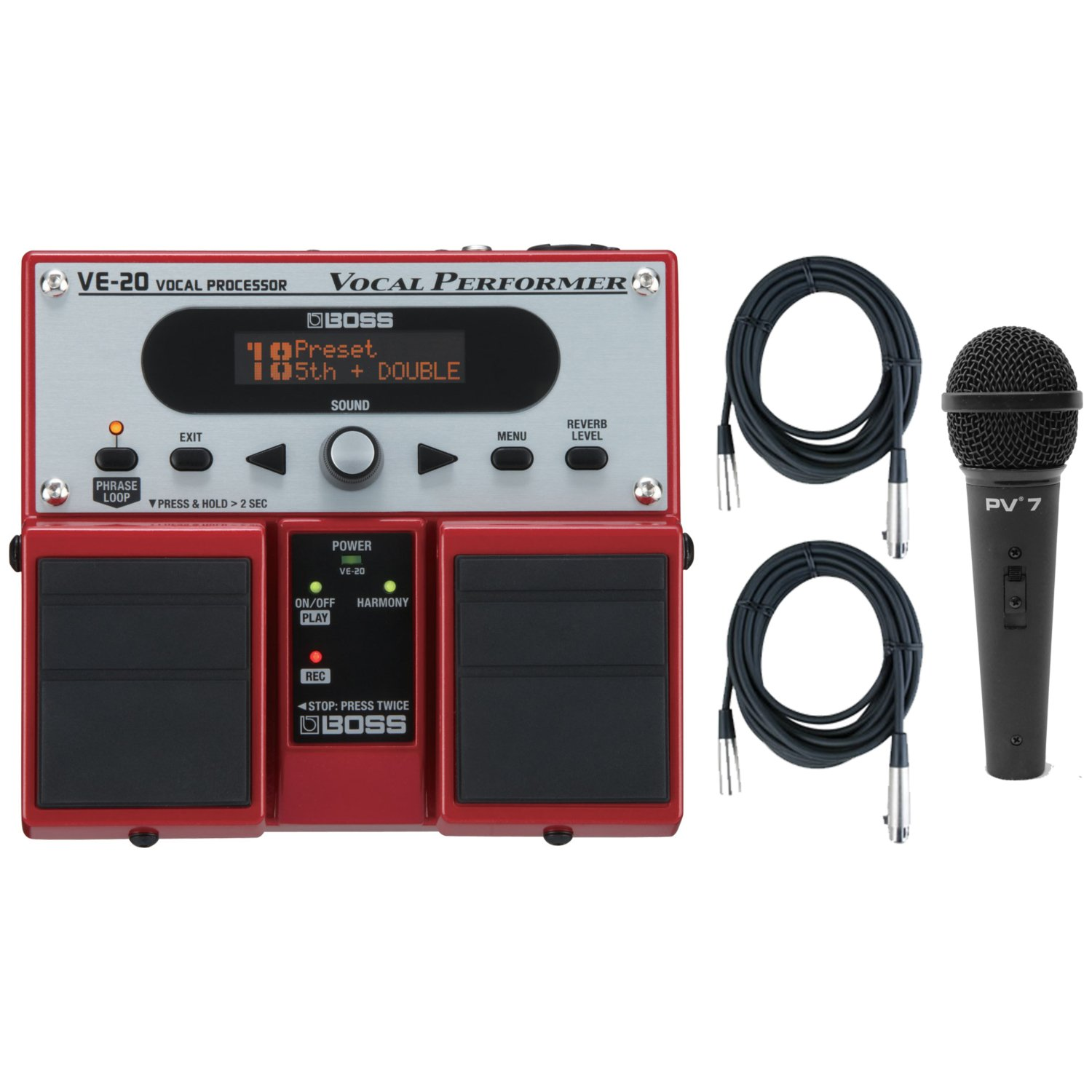 Boss VE-20 Vocal Performer Vocal Processor Pedal w/ Dynamic Microphone and (2) 20' XLR Cables