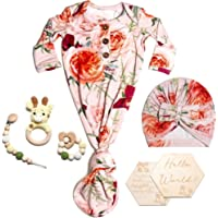 Fluf Newborn Baby Girl Knotted Gown Gift Set Hamper, Floral Peach, Bamboo, Includes 6 Items, 0-3 Months