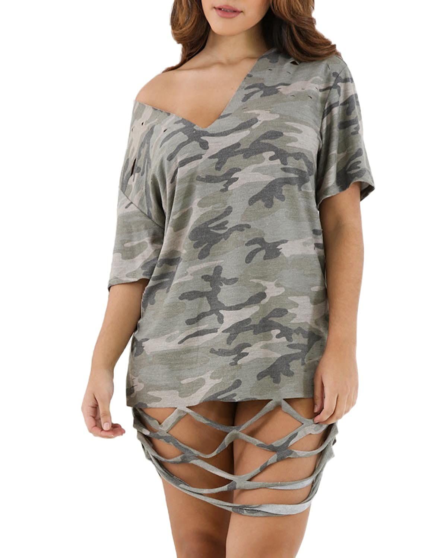 Auxo Damen Unregelmäßige Kurzarm V-Ausschnitt Lose Oversize T-Shirt Tunika  Tops Tarnung EU 42/Etikettgröße 2XL: Amazon.de: Bekleidung