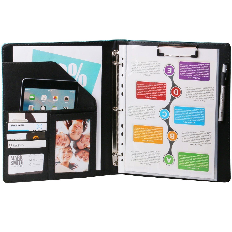 Z PLINRISE Luxury Marble Portfolio File Folder Document Resume Organizer,Padfolio File Holder Folders Letter Size,Standard 3 Ring Binder with Clipboard (Black and White Diamond) by Z PLINRISE (Image #3)