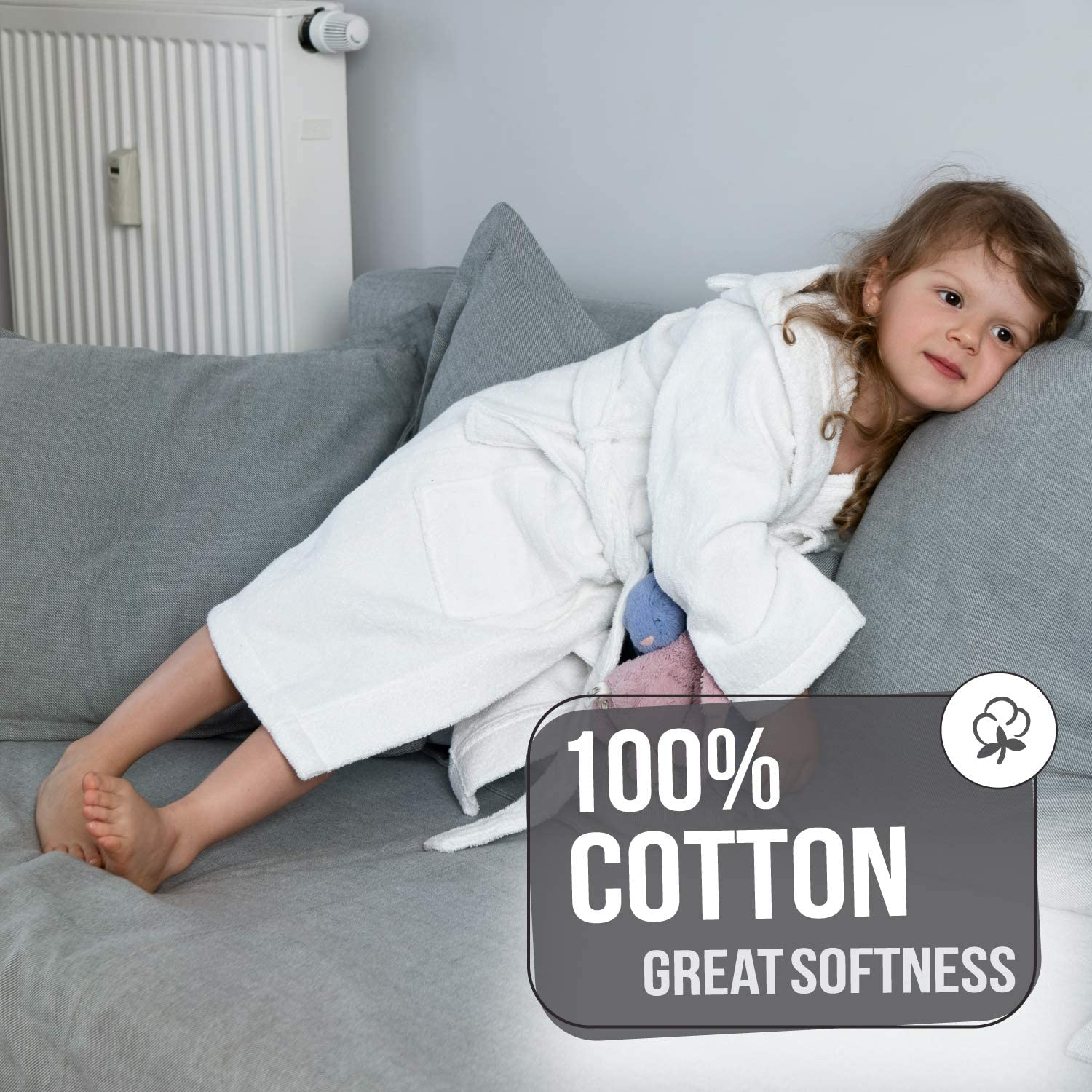 Certified Without Chemicals Child Bathrobe Twinzen Kids Bathrobe Boy and Girl Children Bathtub Outlet Absorbent 100/% Cotton