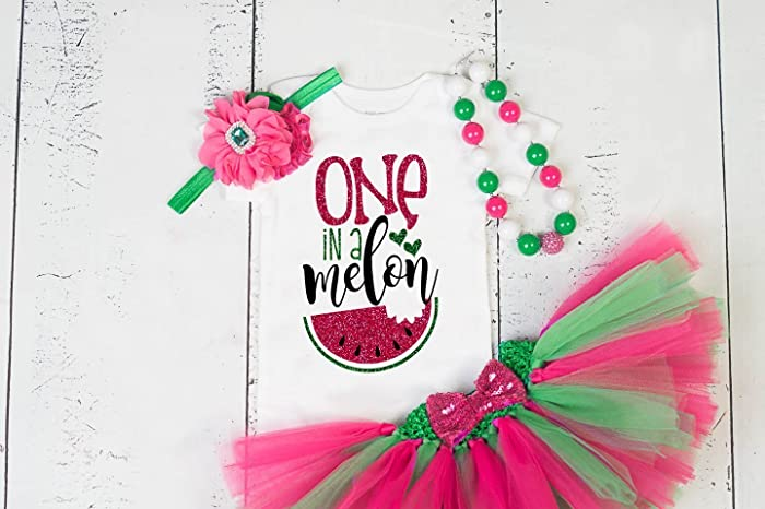 a6f224ead Amazon.com: GirliesGalore Girls Watermelon Birthday Outfit, Baby Girl 1st  Birthday, One in a Melon, Watermelon Themed Birthday, Girls First Birthday  Outfit: ...