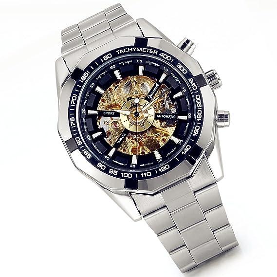 df6420680ce9 Lancardo Reloj Comercial Mecánico Automático con Dial Hueco de Metal Pulsera  Casual de Moda con Correa