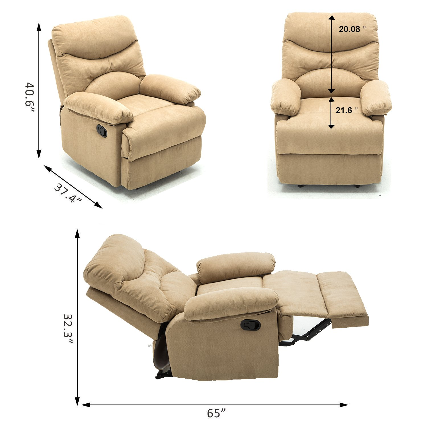 Massage Recliner Chair, Microfiber Ergonomic Lounge Living Room Sofa With  Heated Control