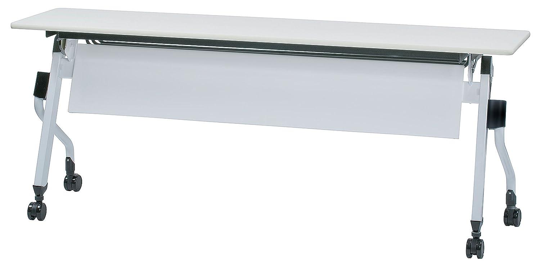 会議テーブル 跳ね上げ式 W1800×D450×H700 幕板付き 黒色棚 平行スタックテーブル GD-661M (WH:ホワイト) B01MUQET9M WH:ホワイト WH:ホワイト