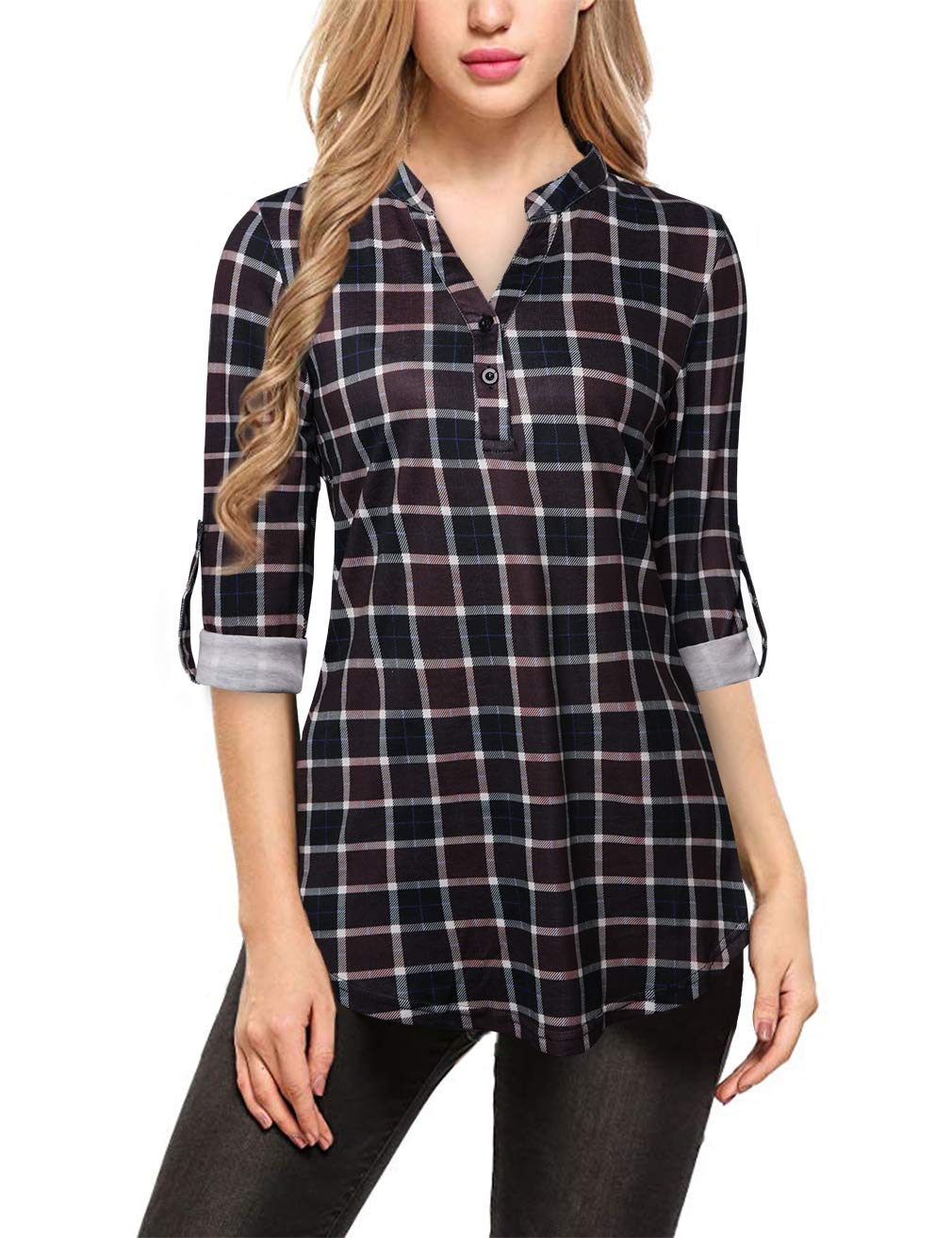 FANSIC V Neck Blouses for Women, Long Sleve Casual Roll-up 3/4 Sleeve Plaid Tunic Blouses Wine Red and Black Medium