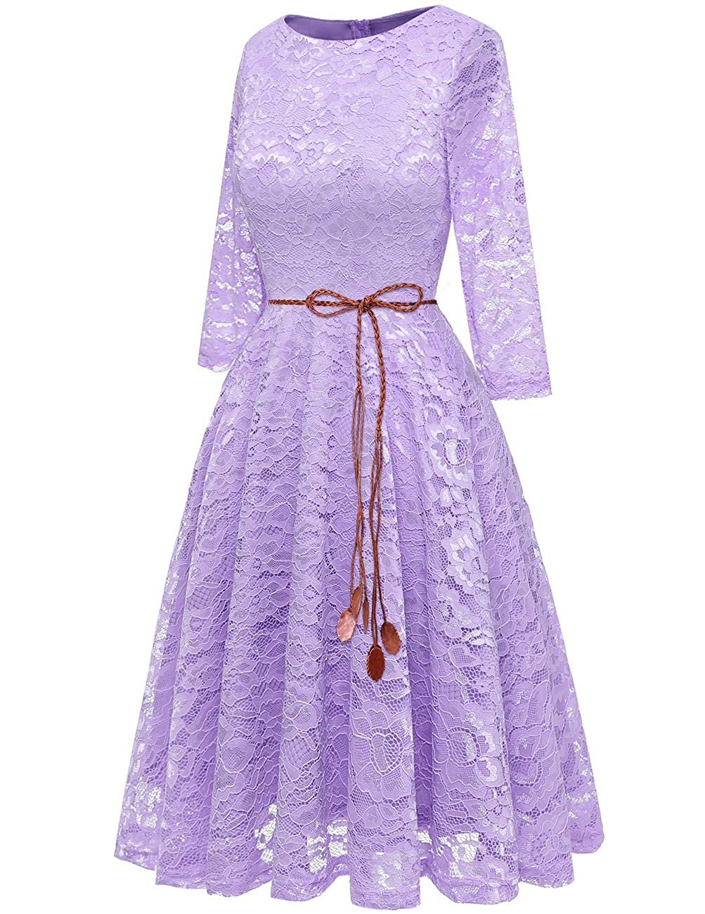Bridesmay Womens Elegant 3//4 Sleeve Boatneck Floral Lace Swing Cocktail Party Bridesmaid Dress