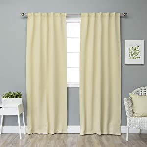 "Best Home Fashion Closeout Premium Thermal Insulated Blackout Curtains - Back Tab/ Rod Pocket - Beige - 40"" W x 84"" L - (Set of 2 Panels)"