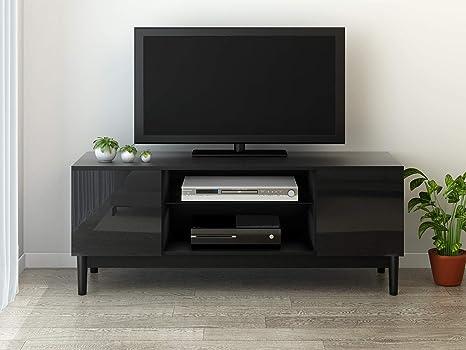 Yaermei 120//140//160CM Width Wooden TV Stand with 2 Highgloss Doors Lowboard Entertainment Unit White//Black White, 120CM