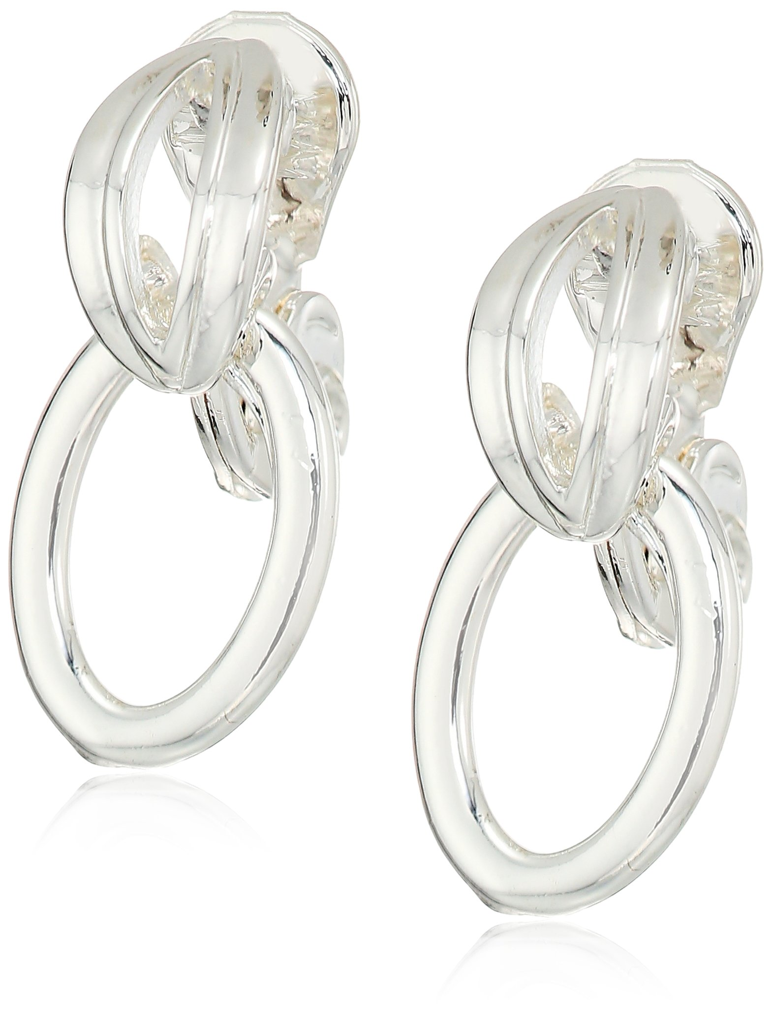 Napier Silver-Tone Double Drop Clip On Earring