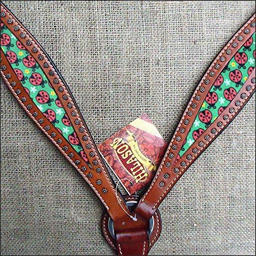 Hilason WesternレザーHorse Headstall Breast襟マホガニーW / Lady Bird Inlay  標準
