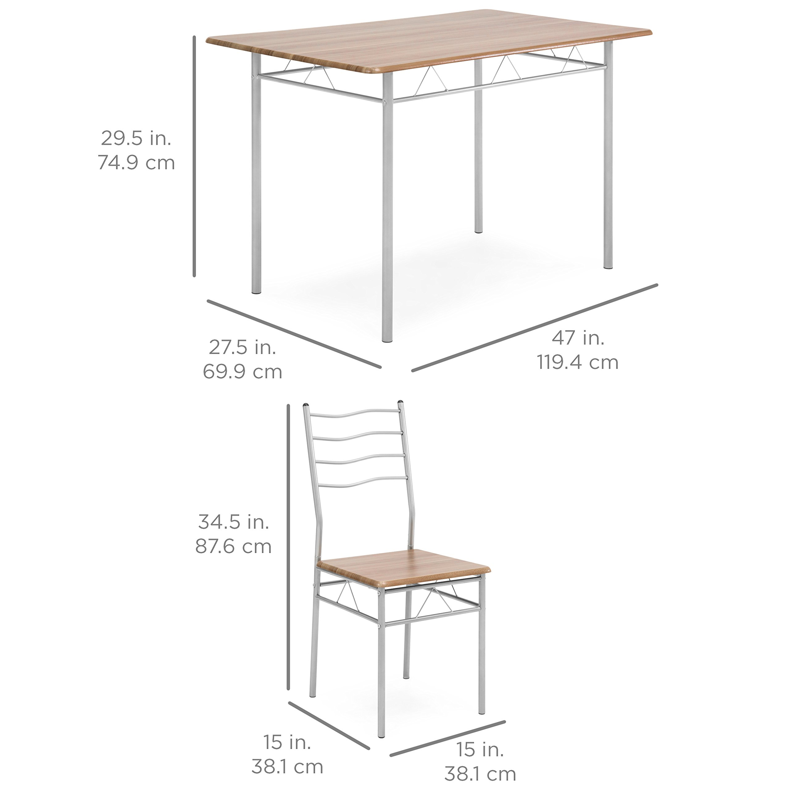 Best Choice Products 5-Piece 4-Foot Modern Wooden Kitchen Table Dining Set w/Metal Legs, 4 Chairs, Brown/Silver by Best Choice Products (Image #6)
