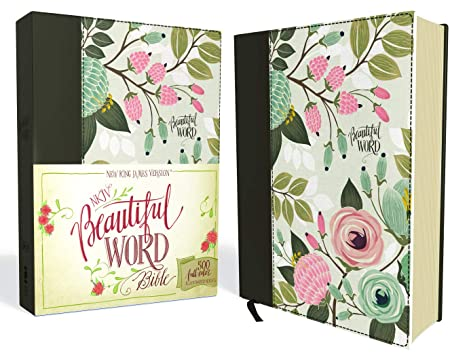 NKJV, Beautiful Word Bible, Cloth over Board, Multi-color Floral, Red Letter: 500 Full-Color Illustrated Verses