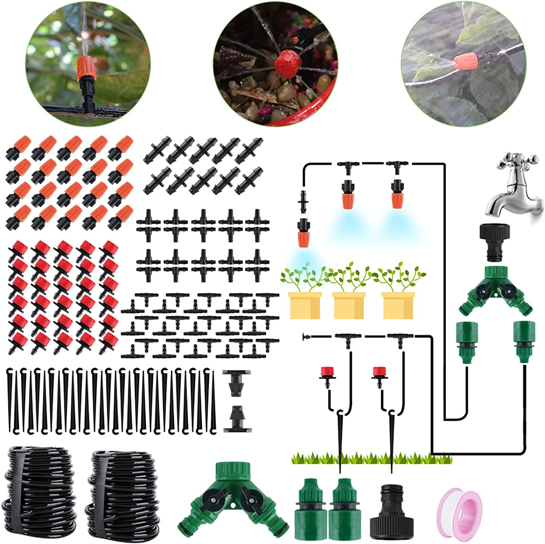 BORUIT 30M DIY Auto Drip Irrigation Kit- 100FT Irrigation Pipe, Irrigation Spray,Perfect Irrigation System Garden Watering Kit for Flower Bed, Patio, Garden Greenhouse Plants