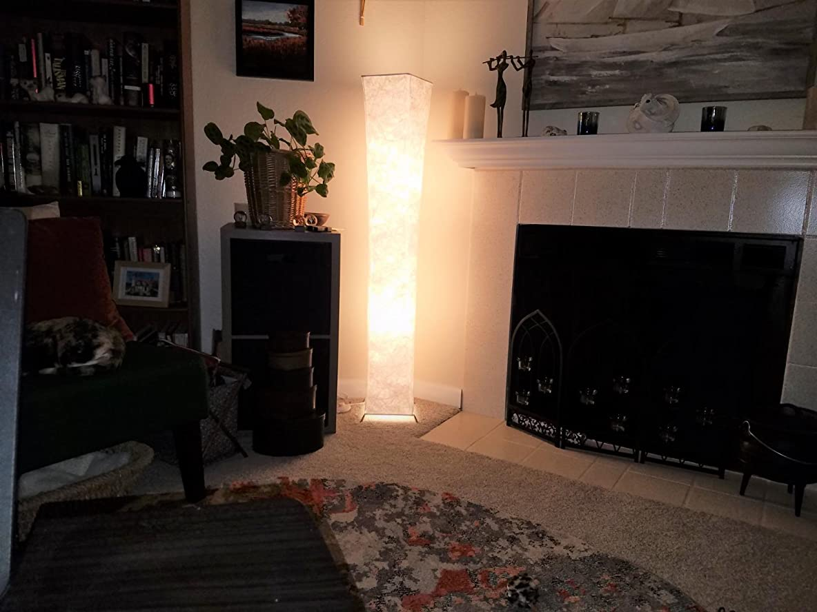 Tower floor lamps in living room