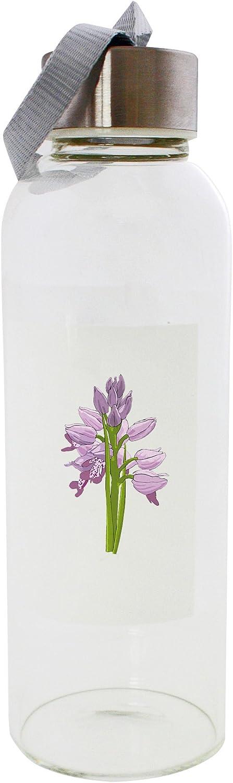 Un grupo de orquídeas silvestres con flores moradas. Botella de cristal de 420 ml